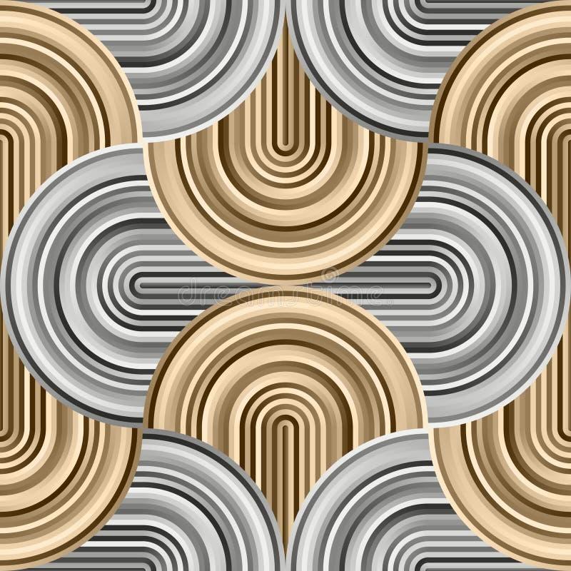 Сумасшедшие кривые - запутанная геометрическая картина с золотом и серебряными цветами иллюстрация вектора
