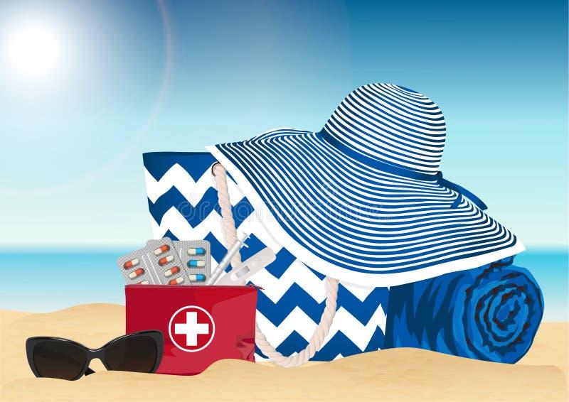 Сумка пляжа и бортовая аптечка дороги Аксессуары лета также вектор иллюстрации притяжки corel иллюстрация штока