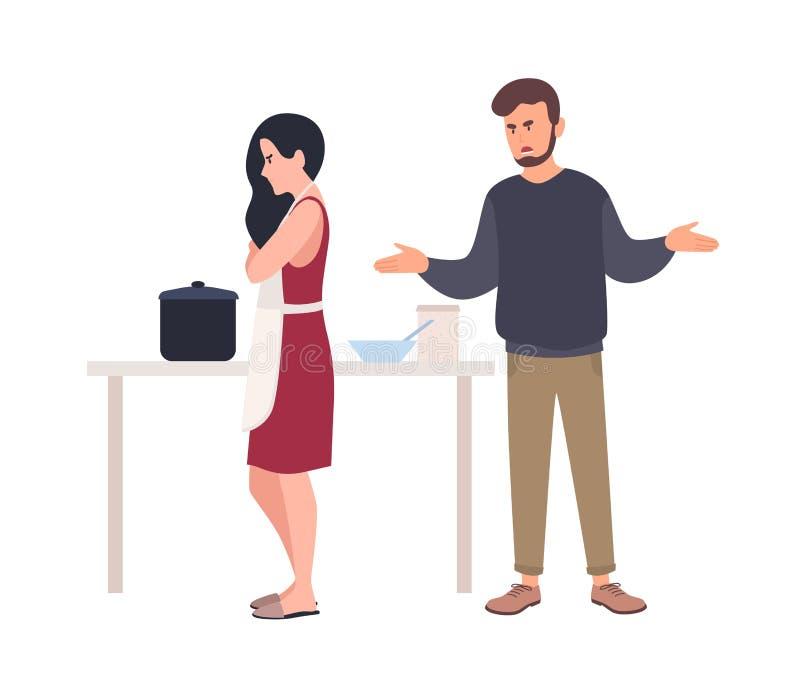 Супруг крича на жене пока она варит в кухне Проблема отношения между супругами, романтичными партнерами бесплатная иллюстрация