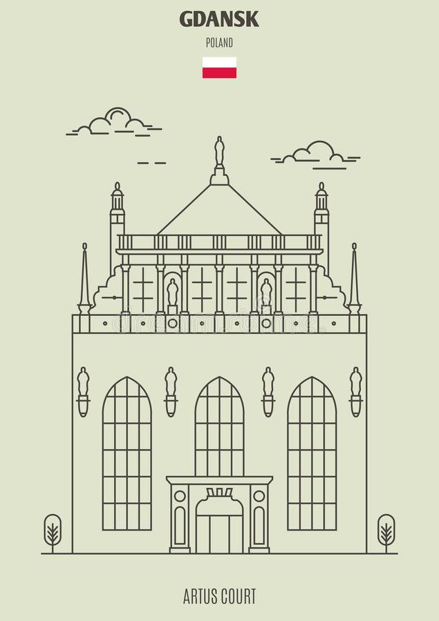 Суд в Гданьске, Польша Artus Значок ориентир ориентира бесплатная иллюстрация