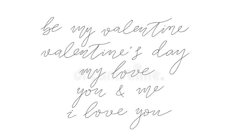 Vector saint valentines day collection of hand drawn lettering. isolated vector free hand calligraphy ink sketch design. royalty free illustration