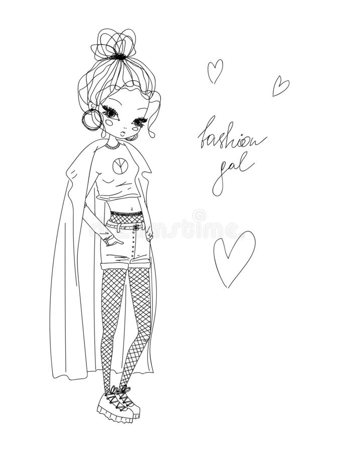 Vector fashion girl linear illustration. black and white fashion girl hand drawn in line art wearing stylish clothes, fashion gal. Black and white vector stock illustration