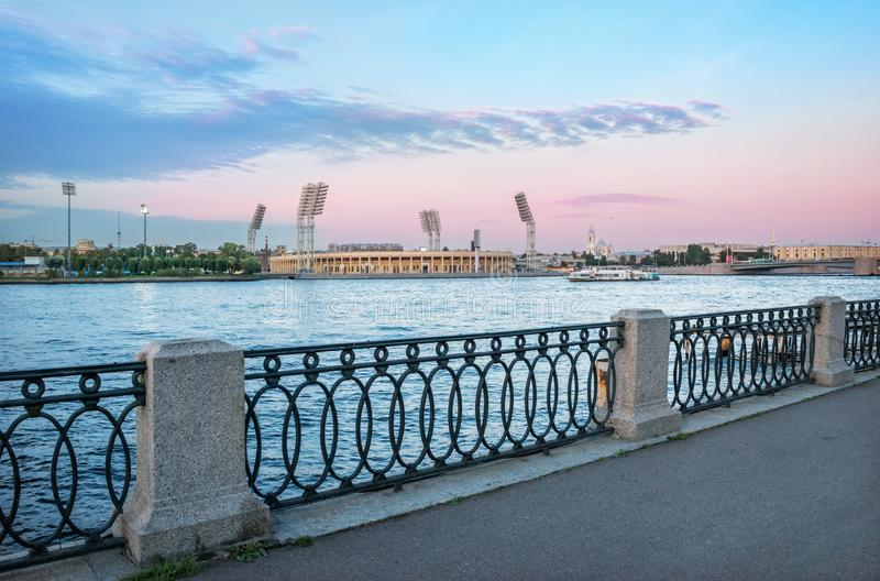 Petrovsky Stadium in St. Petersburg. The Petrovsky Stadium and Prince Vladimir Cathedral in St. Petersburg across the river. View from the Makarov embankment stock photo