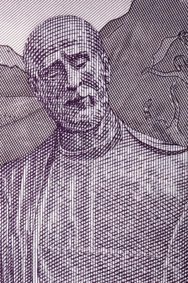 Статуя Komitas от армянских денег стоковое изображение rf