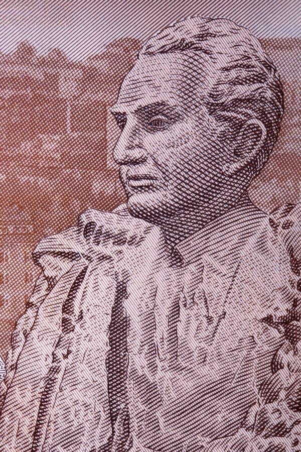 Статуя Petrosyan от армянских денег стоковые фото