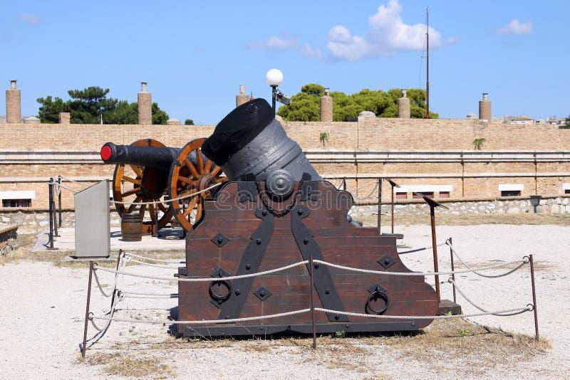 Старая крепость городка Корфу миномета и карамболя стоковое изображение rf