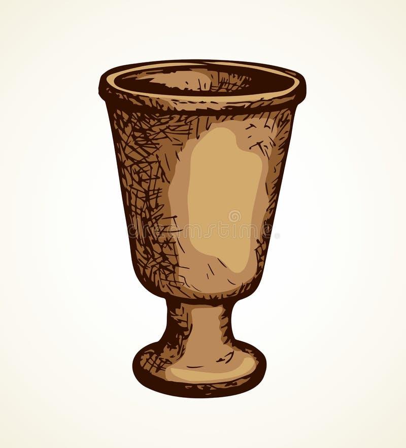 Старая чашка предпосылка рисуя флористический вектор травы иллюстрация вектора