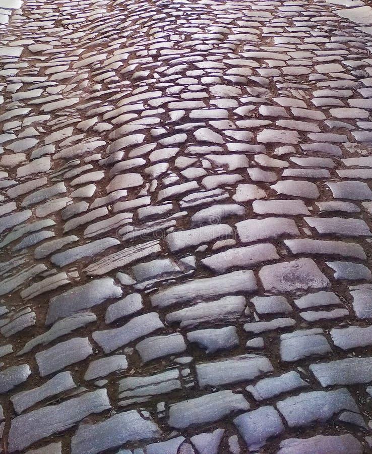 Старая римская вымощенная дорога стоковые изображения rf