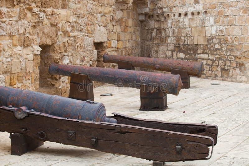 Старые стены и карамболи замка Ларнаки во дворе, Кипре стоковое изображение