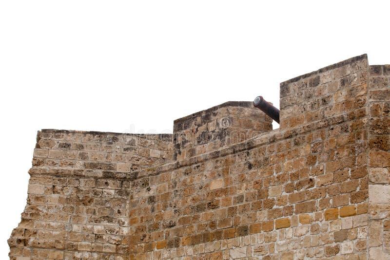 Старые стены и карамболи замка Ларнаки во дворе, Кипре стоковое фото