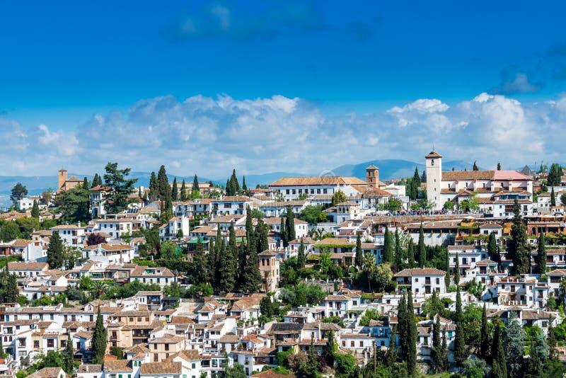 Старый городок Гранады на солнечный день стоковое фото rf