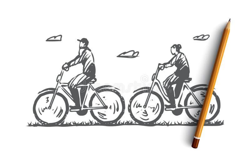 Старый, пары, велосипед, счастливый, концепция спорта Вектор нарисованный рукой изолированный бесплатная иллюстрация