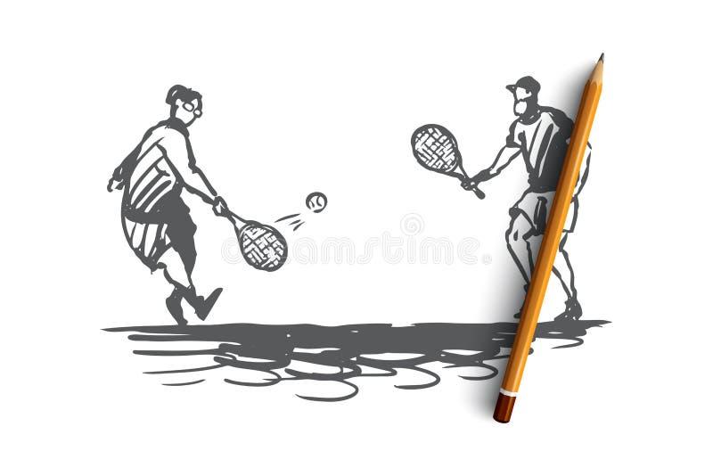 Старый, пары, игра, теннис, старшая концепция Вектор нарисованный рукой изолированный иллюстрация штока