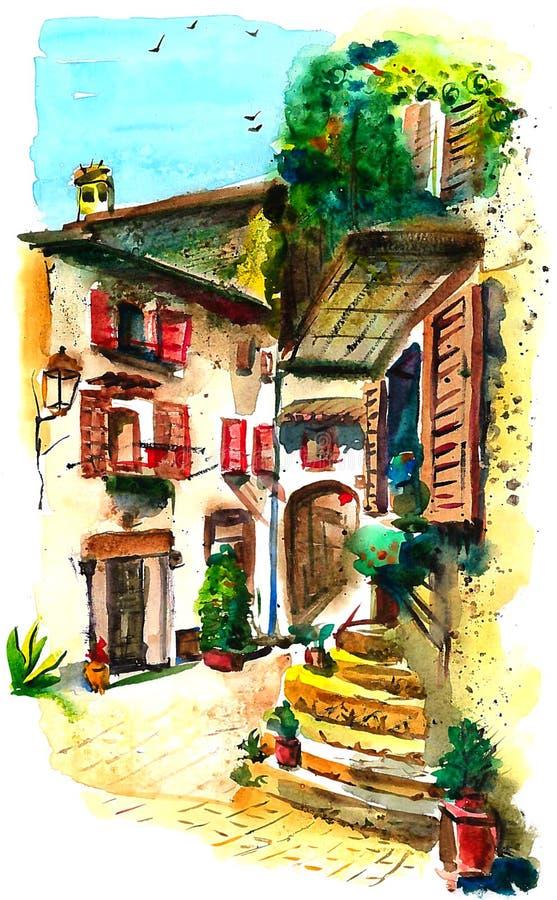 Старый двор в южной Италии иллюстрация штока