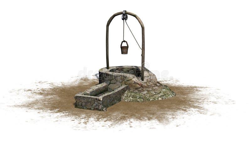 Старый средневековый камень хорошо с тазом воды на зоне песка иллюстрация штока