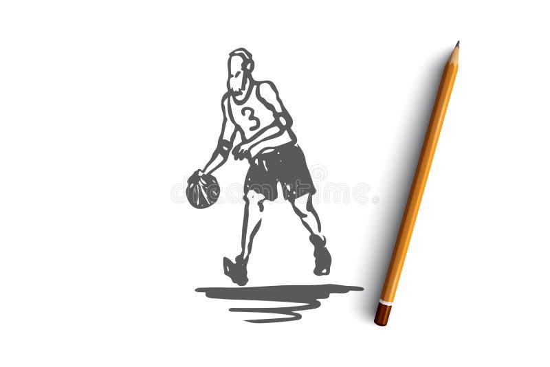 Старый, человек, игра, баскетбол, концепция деятельности Вектор нарисованный рукой изолированный иллюстрация штока