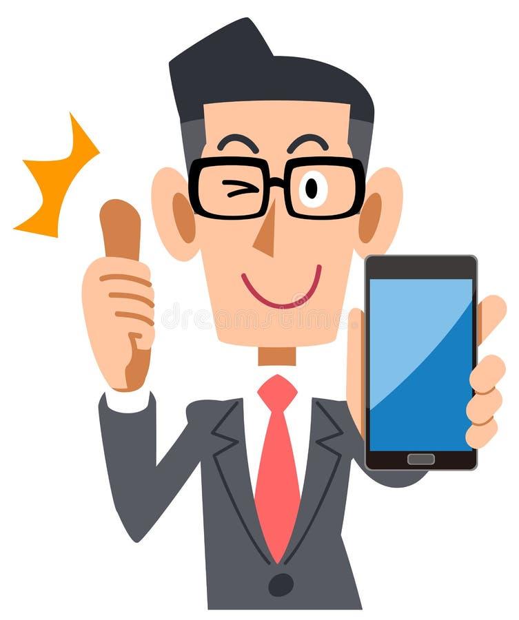 Стекла бизнесмена нося к большому пальцу руки вверх со смартфоном иллюстрация вектора