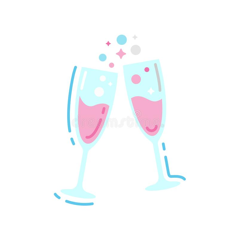 Стекла значка цвета шампанского плоского Торжество праздничного события иллюстрация вектора