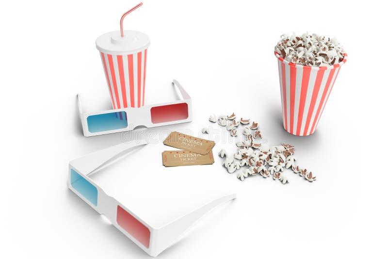 2 стекла 3D, чашка попкорна, чашка с carbonated напитком и 2 билета для одиночной пользы изолированного на белой предпосылке иллюстрация штока