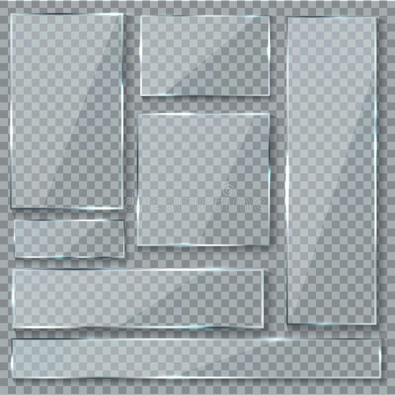 Стеклянная пластинка Набор вектора знаков стеклянных плит знамен окна влияния текстуры пластиковых ясных прозрачных акриловый лос бесплатная иллюстрация