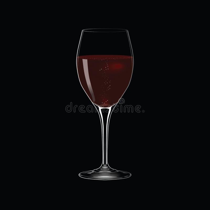 Стекло вектора красного вина на черной предпосылке - иллюстрации иллюстрация штока