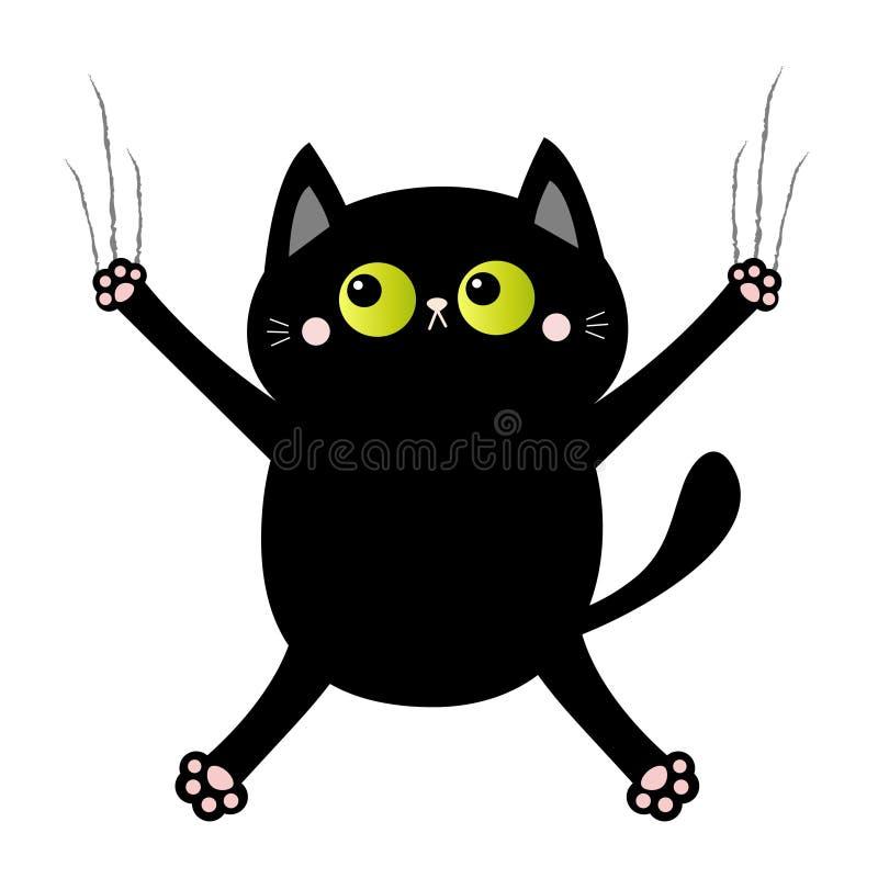 Стекло царапины когтя ногтя черного кота котенок screaming eye зеленый цвет Характер милого kawaii мультфильма смешной падая вниз бесплатная иллюстрация