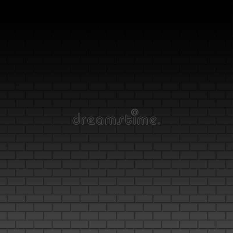 Стена на темной предпосылке Черная стена кирпичей иллюстрация штока