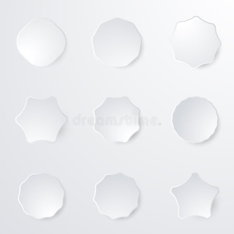 Стикеры значка белой бумаги Пустые ярлыки, бирки в форме бесплатная иллюстрация
