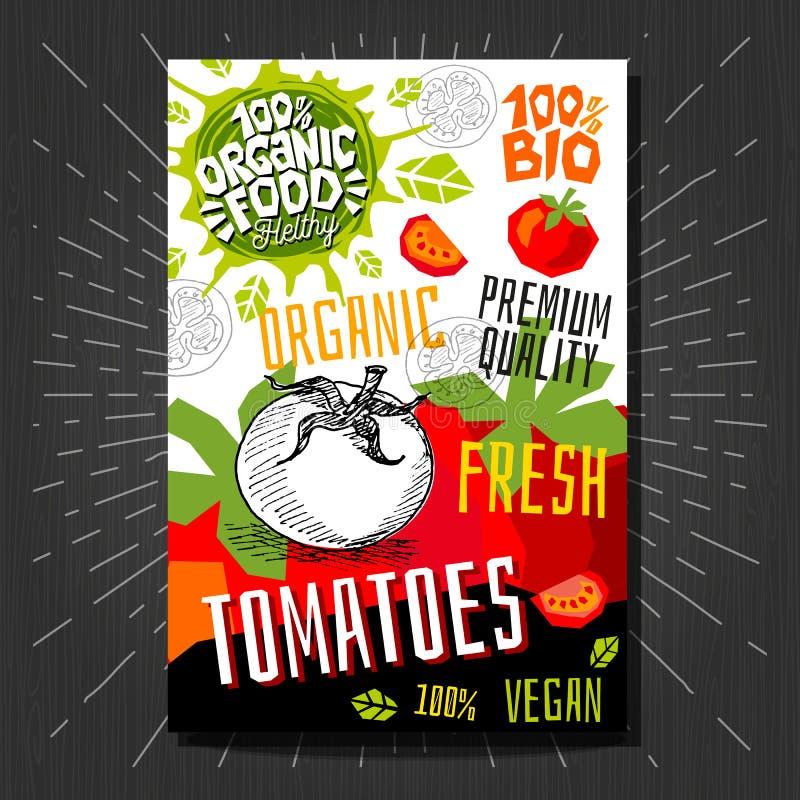 Стикеры ярлыков еды установили красочные плоды стиля эскиза, комплексное конструирование овощей специй Томаты Ярлык овоща иллюстрация вектора