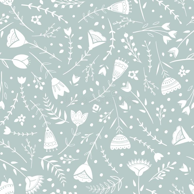 Стилизованная картина, народное искусство, флористический орнамент в голубых серых цветах Безшовная предпосылка вектора картины д бесплатная иллюстрация
