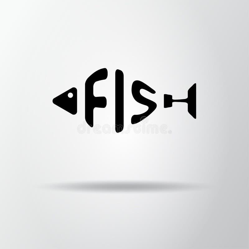 Стилизованное слово в форме рыб изолированных на сером цвете Логотип морепродуктов restraurant Значок сети, символ Иллюстрация ве иллюстрация штока