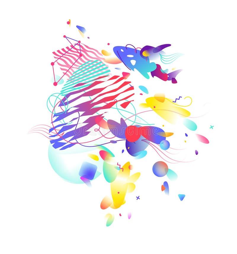 Стиль абстрактного искусства, Suprematism, современного искусства улицы и граффити Элемент дизайна изолирован на белой предпосылк иллюстрация вектора