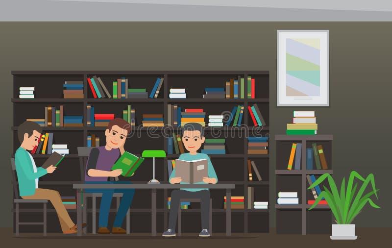Студенты читая учебник в векторе библиотеки плоском иллюстрация вектора