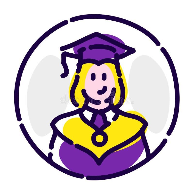 Студент в робы Значок вектора плоский Студент-выпускник школы, коллежа Изображение изолировано на белой предпосылке вектор шаблон иллюстрация штока