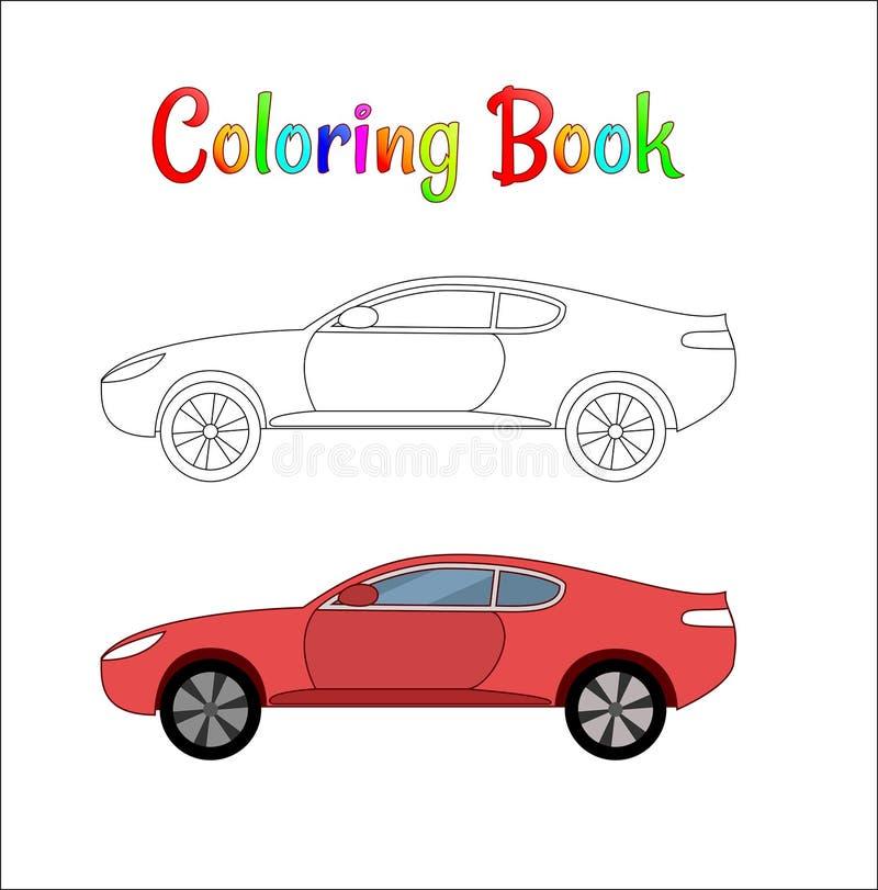Страница шуточной иллюстрации вектора предпосылки гоночного автомобиля крася для детей Автоматические движение и скорость Гоночны иллюстрация штока