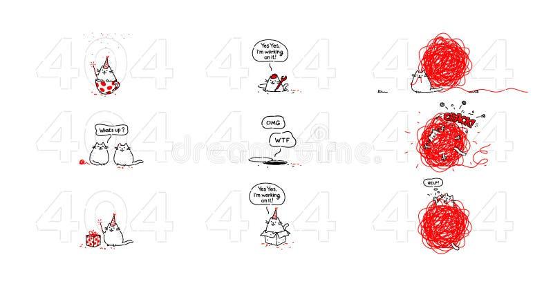 Страница 404 со славным котом ошибка 404 Анимация кота Не найденная страница, место ломала вниз Раскадровки контур иллюстрация штока