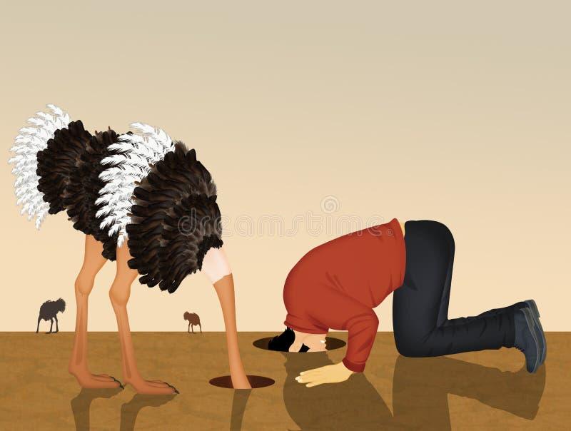 Картинка страус прячет голову в песок