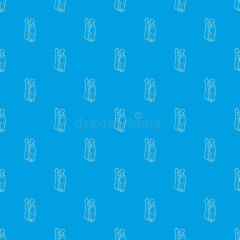 Стрелка удерживания бизнесмена вверх по сини вектора картины безшовной иллюстрация вектора