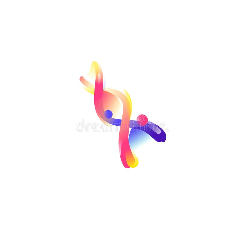 Структура дна Значок вектора плоский Иллюстрация молекулы ДНК Изображение изолировано на белой предпосылке Сформируйте стиль Знач иллюстрация штока
