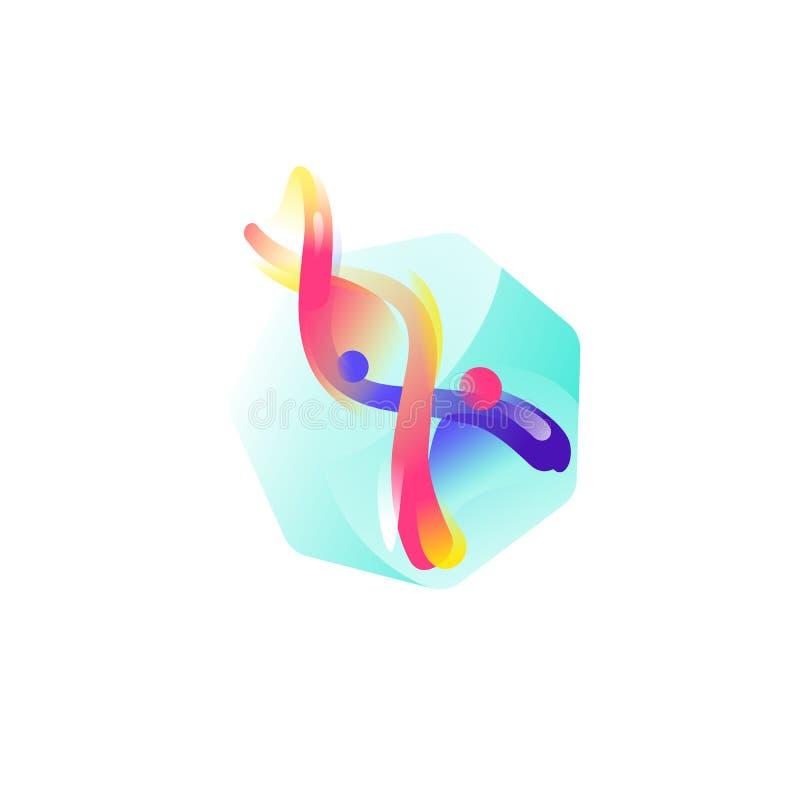 Структура дна Значок вектора плоский Иллюстрация молекулы ДНК Изображение изолировано на белой предпосылке Сформируйте стиль Знач бесплатная иллюстрация