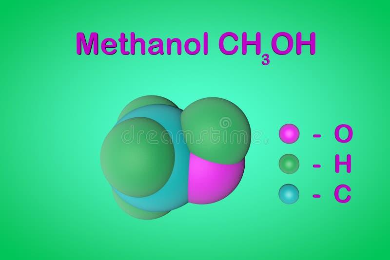 Структурные химическая формула и модель молекулы метилового алкоголя метанола Атомы представлены как сферы с иллюстрация штока