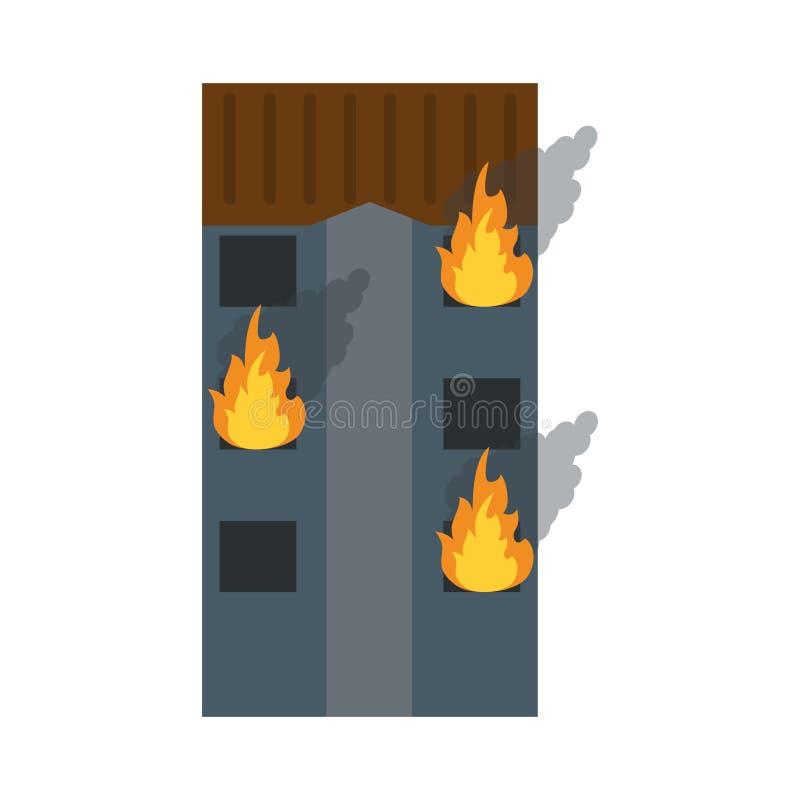 Строя башня в огне иллюстрация штока