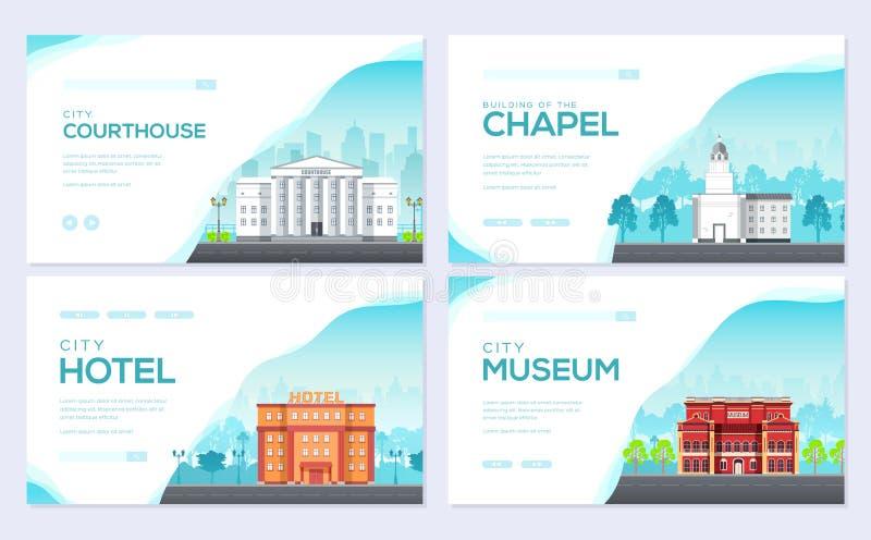 Строя набор карты брошюры города Шаблон flyear, знамя архитектуры сети, заголовок ui, входит место Invintation плана иллюстрация вектора