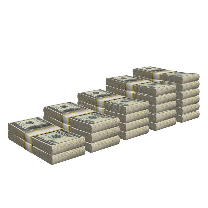 Стог 100 банкноты счета США долларов банкноты денег изолировал На белой предпосылке иллюстрация вектора