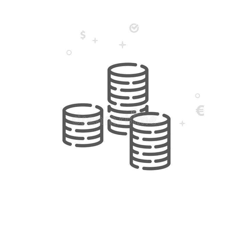 Стог линии значка вектора монеток, символа, пиктограммы, знака Светлая абстрактная геометрическая предпосылка Editable ход иллюстрация вектора