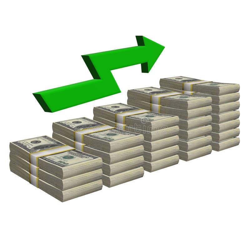 Стог 100 долларов изолированной банкноты Лестница картины с успехом диаграммы стрелки на белой предпосылке иллюстрация вектора