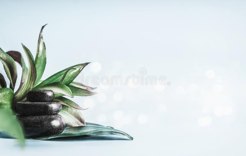 Стог черных горячих камней с зелеными листьями на светлом - голубая предпосылка с bokeh Обработка массажа Спа и оборудование здор стоковое фото