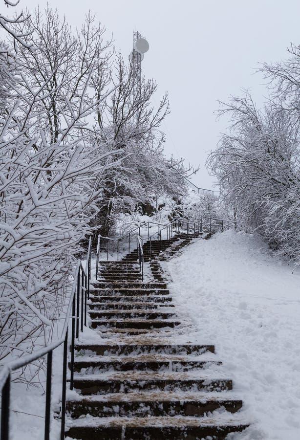 Стокгольм Швеция, лестницы возглавляя вверх по холму на снежный зимний день стоковое фото