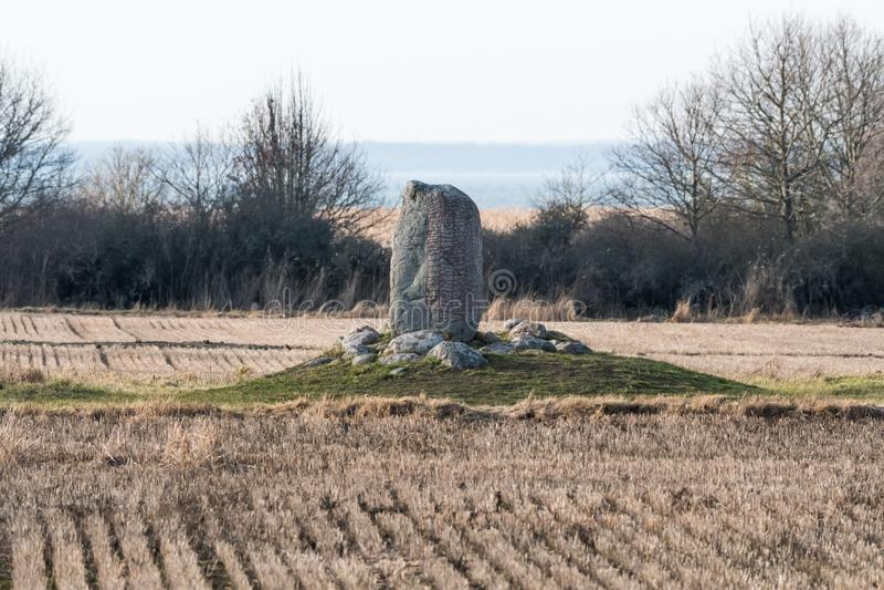 Стоять каменный с runes стоковые фотографии rf