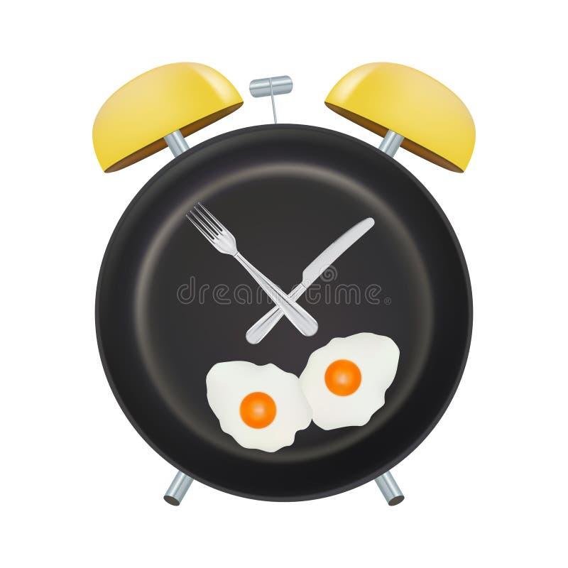 Сторона будильника с вилкой и ложкой изолировала на белой предпосылке Концепция прерывистый голодать, обеденное время, диета иллюстрация штока